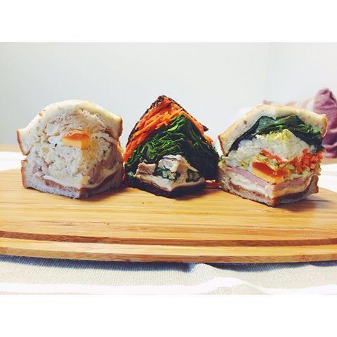 # #3Dサンド ぽんぽんぽんと3兄弟。 真ん中だけプンパニッケル。 冷蔵庫に寝かせすぎかなと気になってたけど やっぱり更に美味しくなってた。 . . #sandwich#sandwichporn #foodstagram#delistagrammer #moedan#vscocam #vscosandwich #pumpernickel#ouchigohan #veggies #サンドイッチ#わんぱくサンド#半分サンド#萌え断#プンパニッケル#3兄弟#おうちごはん#とりあえず野菜食 #ほぼ日サンド #サンドイッチバカ