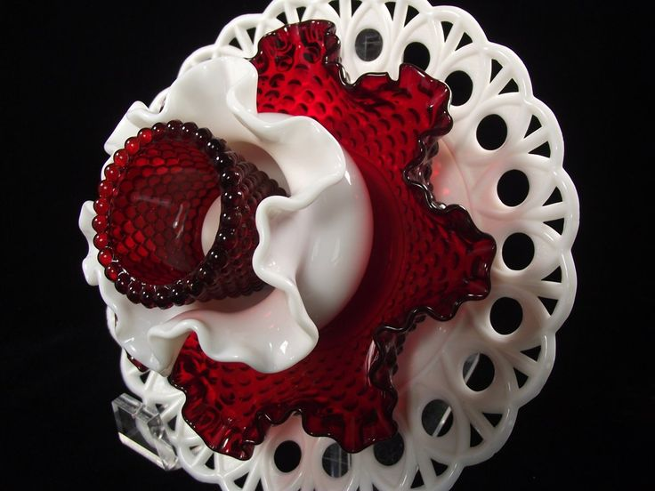 Stunning Milk Glass and Red Hobnail Glass Garden Flower 'VIRGINIA' ........................ by Peachsvintageglass (Etsy)