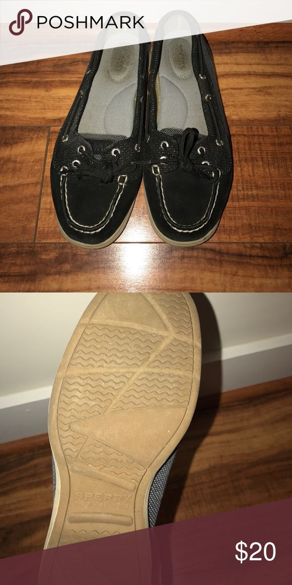 Black sperry Comfy black sperry shoes. Great for work!🌸 Sperry Shoes