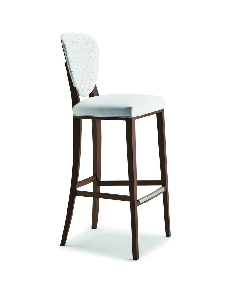 Counter Stool With Solid Wood Frame And Rear Back Panel. Upholstered Seat  And Inside Back.