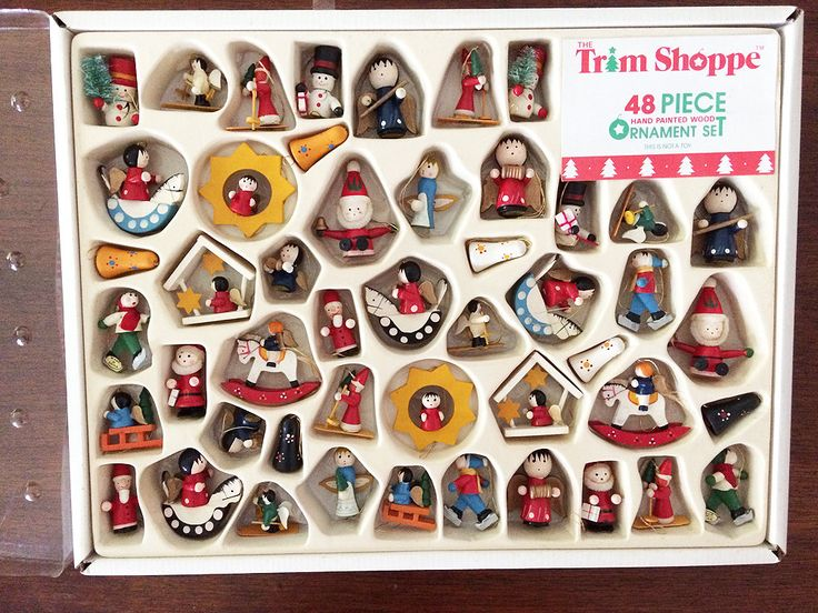 Vintage LOT 48 WOOD Christmas Ornaments in Original Box Trim Shoppe, Wood Santas Angels Bells Ornaments, Vintage Wooden Ornaments IOB, 1970s by JustVintageChristmas on Etsy