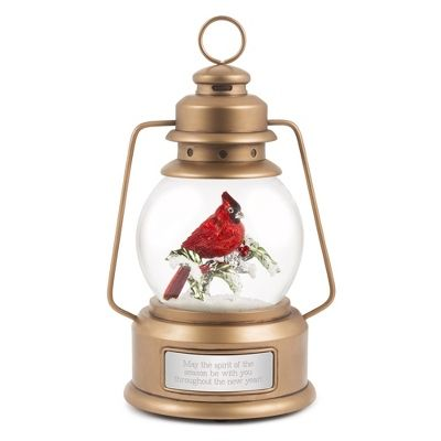 The personalized Cardinal Lantern Snow Globe is the perfect gift for anyone this holiday season. This festive lantern-shaped snow globe features an on/off switch that activates interior lighting and a 'snow blower' effect. Engrave the front of this snow globe with a name and special message to make it the perfect gift. https://www.thingsremembered.com/product/Cardinal-Lantern-Snow-Globe/178582.uts