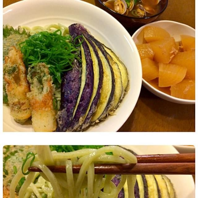 青のり入りの餃子の皮麺を発見! 細いのにコシがあって美味しい〜o(*^▽^*)o~♪ 冷蔵庫にあった野菜の天ぷらと磯辺揚げをのせました♪ 昨日、次男くんが学校行事でとってきたアサリはお味噌汁に^_−☆ - 63件のもぐもぐ - 餃子の皮麺、天ぷら、大根の煮物、アサリのお味噌汁 by ichinana