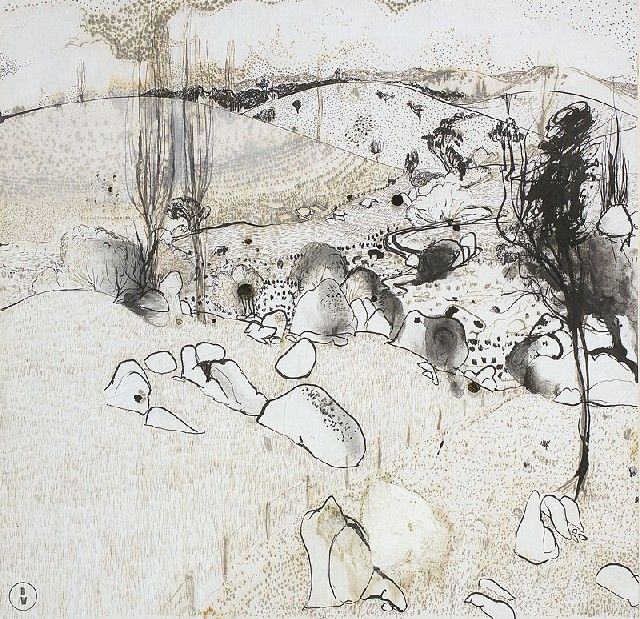 blastedheath:  Brett Whiteley (Australian, 1939-1992), View of the Paddocks, 1979. Ink on board, 41 x 43 cm.
