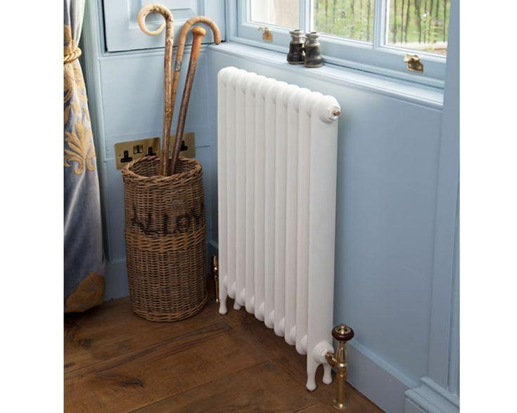 narrow eton cast iron radiator in parchment white in period home