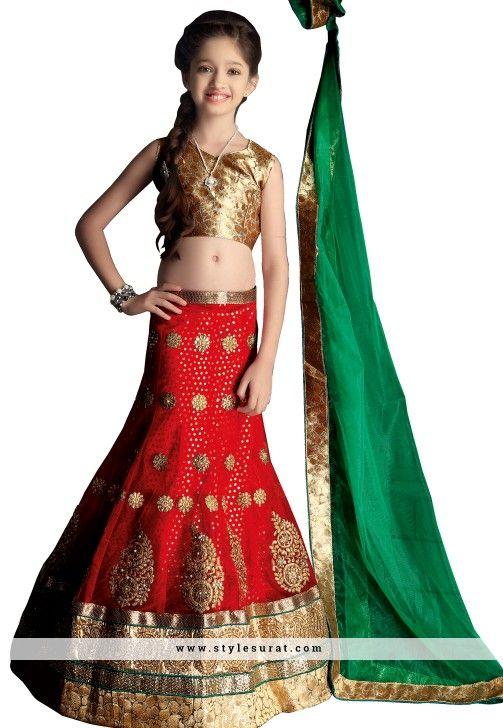Red Color Net And Satin Fabric Girl's Lehenga Choli