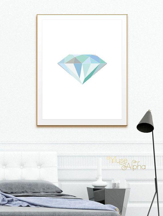 Geometric Diamond, Turquoise Blue Diamond Green Printable Art, Blue Colors.Shades of Blue Art, Aqua Blue colors, Aqua Green Art Printable