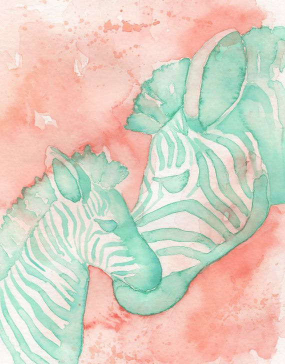 Zebra Mom and Baby PRINT of my original watercolor, coral and mint nursery art by Katrina Pete, Zebra baby shower nursery print