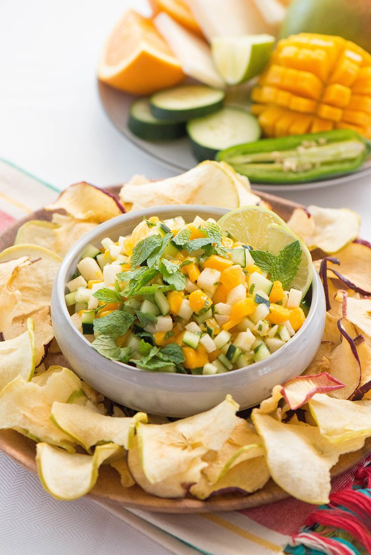 This Fruit Pico de Gallo Salad is sweet, spicy and crunchy with Seneca Apple Chips.
