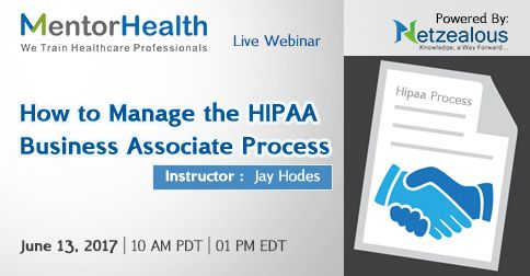 The webinar will cover how to find out if business associates have the necessary technical, physical and administrative safeguards in place to protect shared protected health information http://www.mentorhealth.com/control/w_product/~product_id=800976LIVE