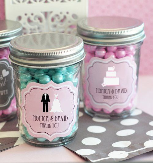 I could make you caramels to put inside the little jars.. Also note, we could design the labels and get them printed somewhere else and get the mason jars too.. Personalized Bridal Mini Mason Jars by Beau-coup