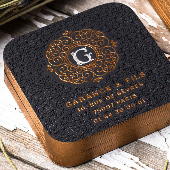 Rounded Square Foil Black Cards by JukeBoxPrint