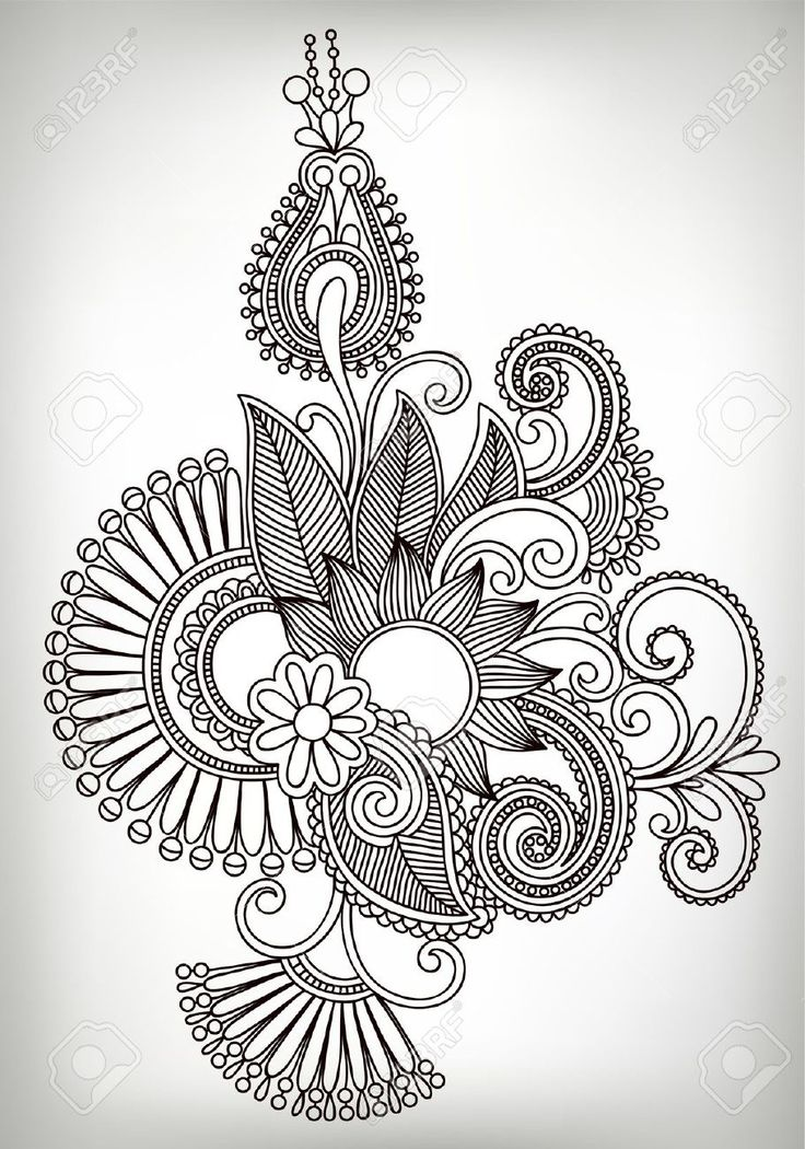 Mendhi style coloring page