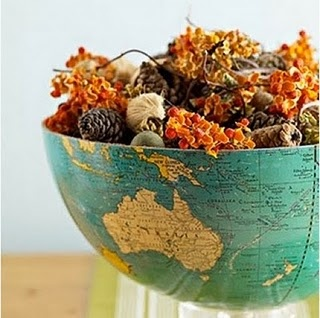 Globe bowl - I have a broken globe that I could do this with.. and lots of pinecones in our new backyard.