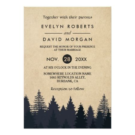 Rustic Pine Trees Kraft Winter Wedding Invitation - click to get yours right now!