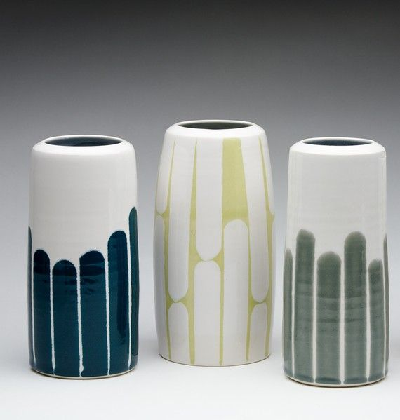 DAHLHAUS, STRIPED VASES: by heather dahl on etsy. they're currently sold out, but hopefully she'll make more...