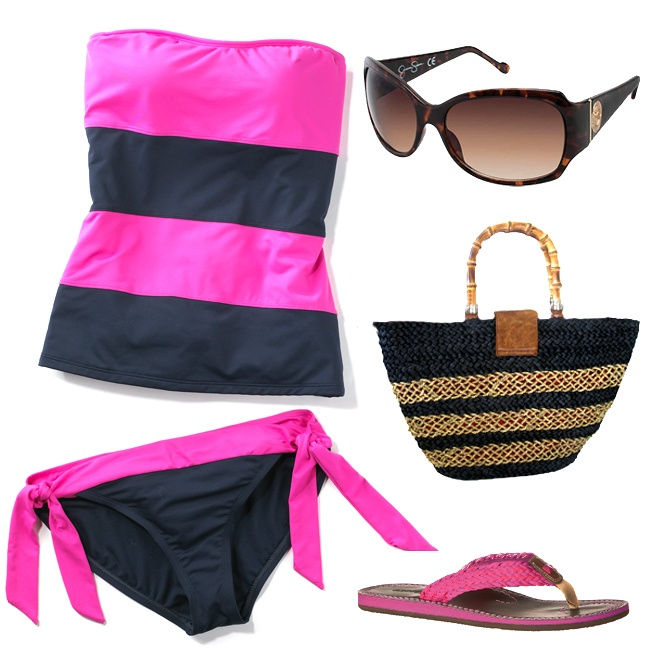 Navy & Pink bandeau tankini with #JessicaSimpson glassesPink Bandeau, Bandeau Tankini