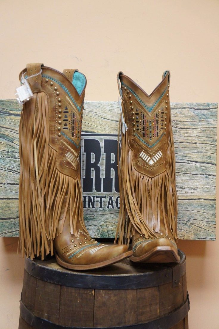 Women's Corral Boot with Multicolor Crystal Pattern Fringe New Style C2910 | eBay
