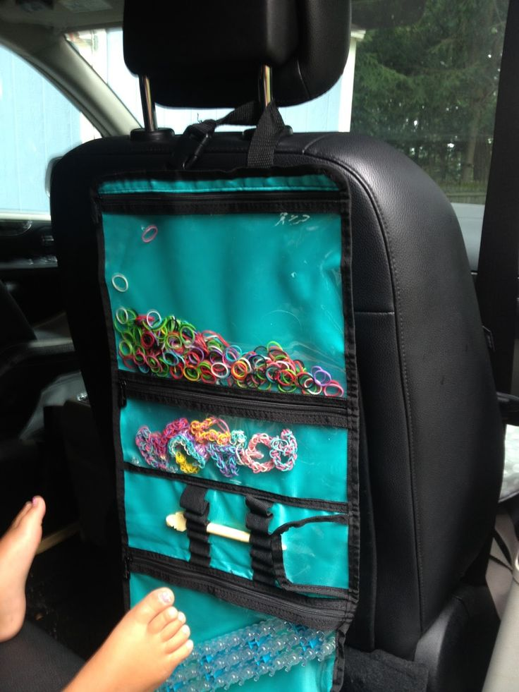 Rainbow Loom rubber band organizer for the car