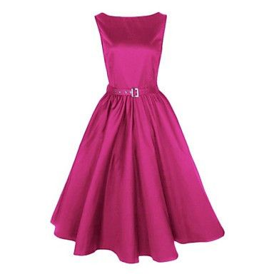 Fuschia Vintage Audrey Hepburn Womens Swing Dress