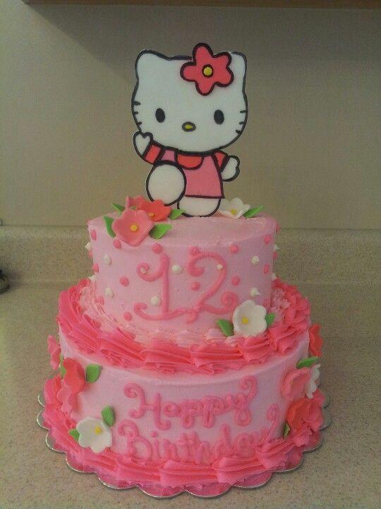Gateau fleurs roses Hello Kitty   – Hello kitty birthday party ideas