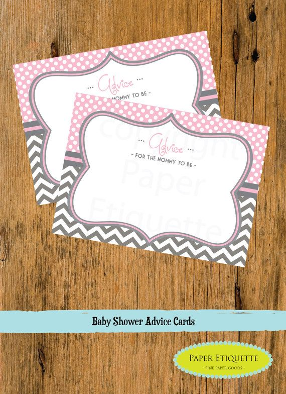 INSTANT UPLOAD Baby Shower Advice Cards For The Mom to Be Pink and Gray Chevron - Print Your Own