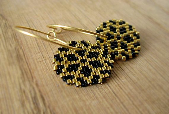 Earrings - Black and Gold Ice Crystals - Opaque Black and 24k gold plated delica glass beads - 24k gold plated sterling silver hoops on Etsy, 380,00 kr