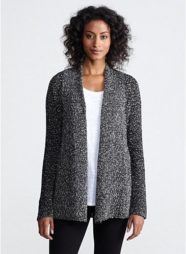 Petite Shaped Cardigan in Wrapped Cotton Nubble