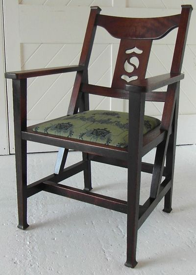 Arts Crafts Colonial Desk Chair In Oak With Pierced Back Splat And Drop Seat Original Fabric Circa 1900 Era