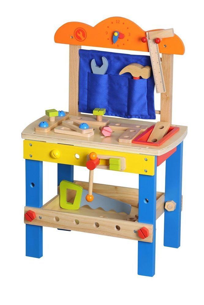Lelin Wooden Diy Construction Work Bench Childrens Kids