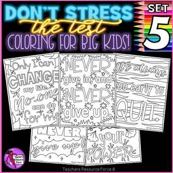 Growth Mindset Inspirational zen doodle Coloring Pages and Posters - great for positive thinking and when taking tests! Most teachers are very concerned about their students during the testing period, and have found immediate positive results on student well-being with my motivational coloring pages.