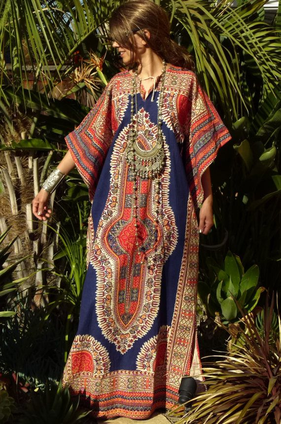 Vtg 60s 70s Pakistan / India boho gypsy tribal ethnic hippie dashiki batik belled sleeve cotton tunic /caftan / kaftan dress $66.50