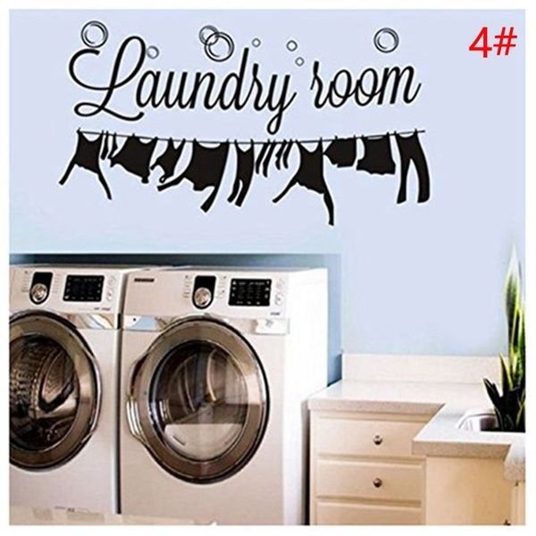 9 Style Hot Sale Washing Machine Home Decor Laundry Room Decoration Removable Art Wall Sticker Vinyl Mural Decal In 2020 Laundry Room Wall Decor Living Room Wall Wallpaper Laundry Room