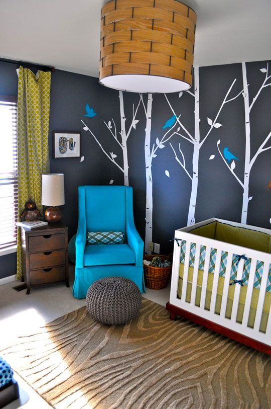 I love this blue chair!: Idea, Boys Nurseries, Boys Rooms, Baby Boys, Trees, Colors Schemes, Baby Rooms, Dark Wall, Kids Rooms