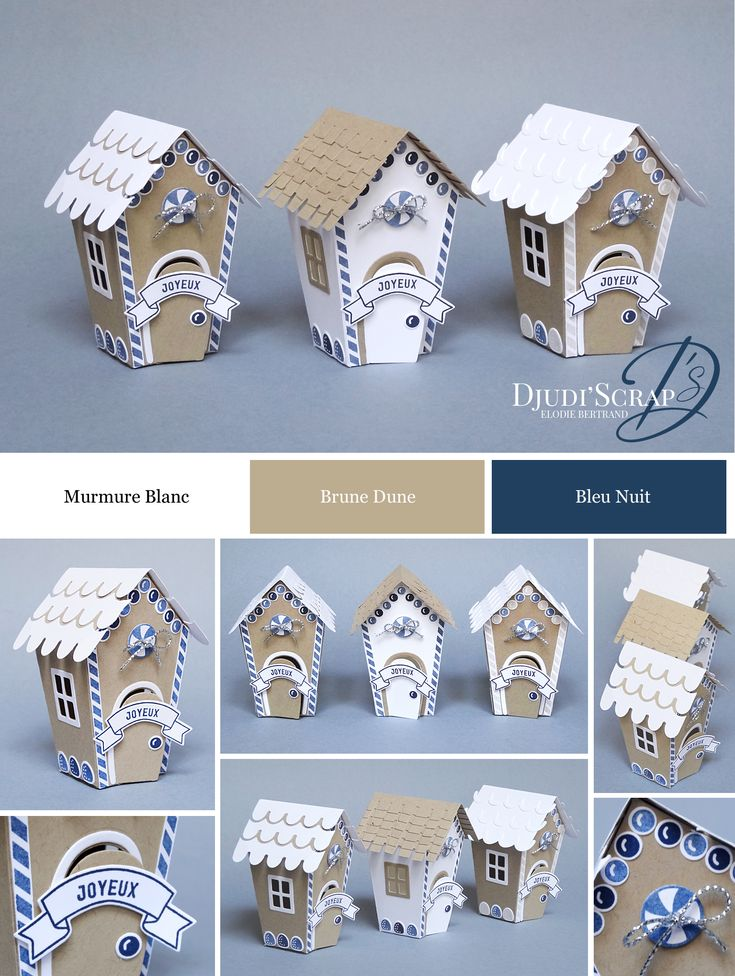 "Stampin'Up! by Djudi'Scrap - Décoration Petites Maisons Noël ""Thinlits Doux Foyer / Home Sweet Home Thinlits Dies"""
