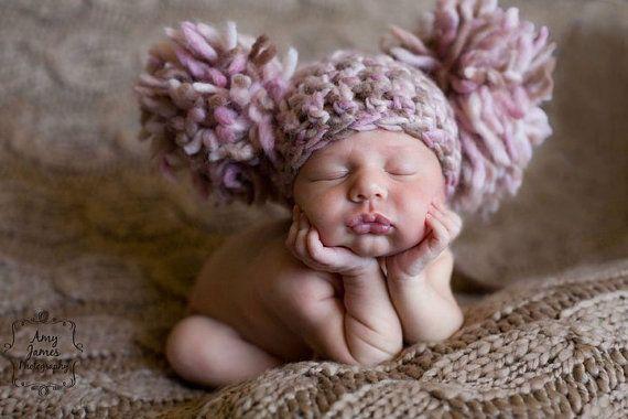 TWINS SET 2 Newborn Baby Girl Hats Crochet by chloescrochetcloset, $60.00Fraggle Rocks, Crochet Hats, Newborns Baby Girls, Baby Hats, Kids, Pom Pom, Cream, Photography Props, Knits Projects