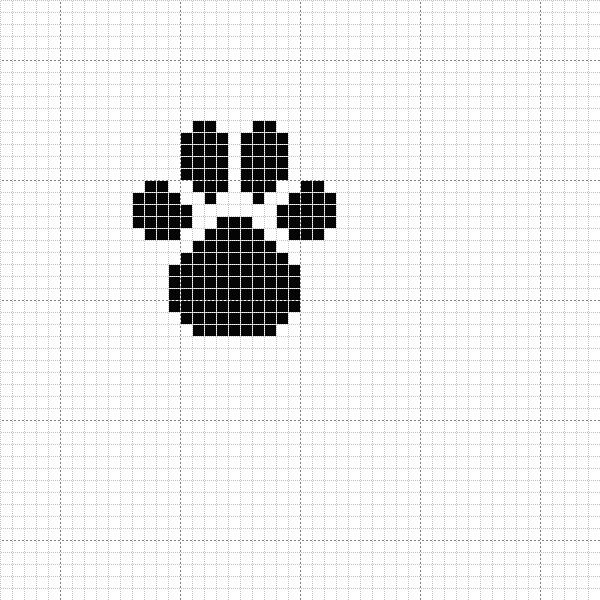 Simple paw print X-stitch pattern
