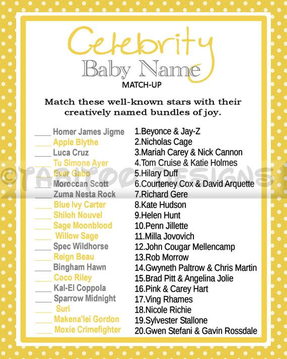baby shower printable celebrity baby name game celebrity baby showers