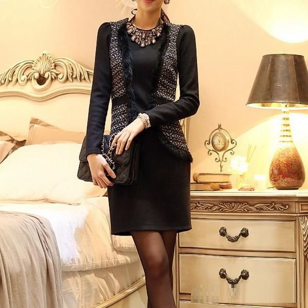 Trendy Slim Waistcoat Design Winter Formal  Pencil Dress  (without belt)
