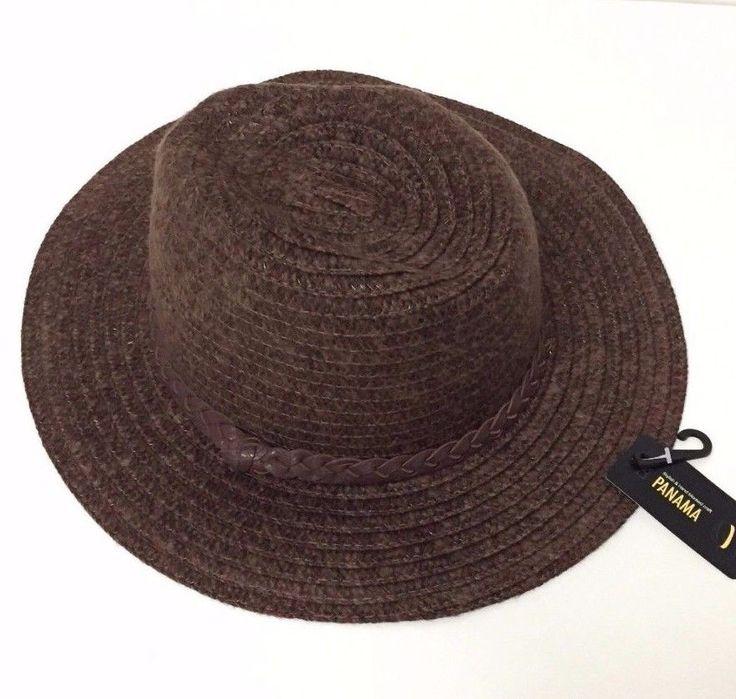 Women's Stylish Cap Floppy Folding Wide Brim With Ribbon Panama Fedora Hat Brown