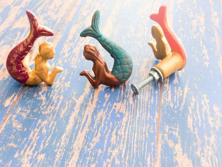 Mermaid Knobs ~ Beach Knobs ~ Mermaid Bathroom ~ Nautical Pulls ~ Mermaid Nursery Decor ~ Beach Decor Knob ~ Mermaid Room Decor from LilHelpingHands on Etsy Studio
