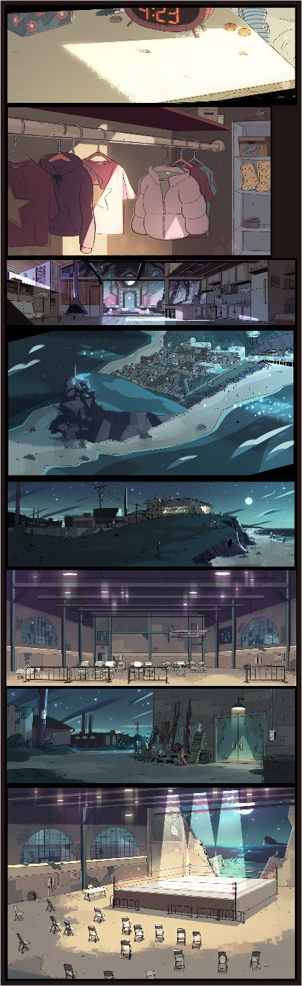 "A selection of Backgrounds from the Steven Universe episode: ""Tiger Millionaire""      Art Direction: Kevin Dart      Design: Steven Sugar      Paint: Amanda Winterstein"