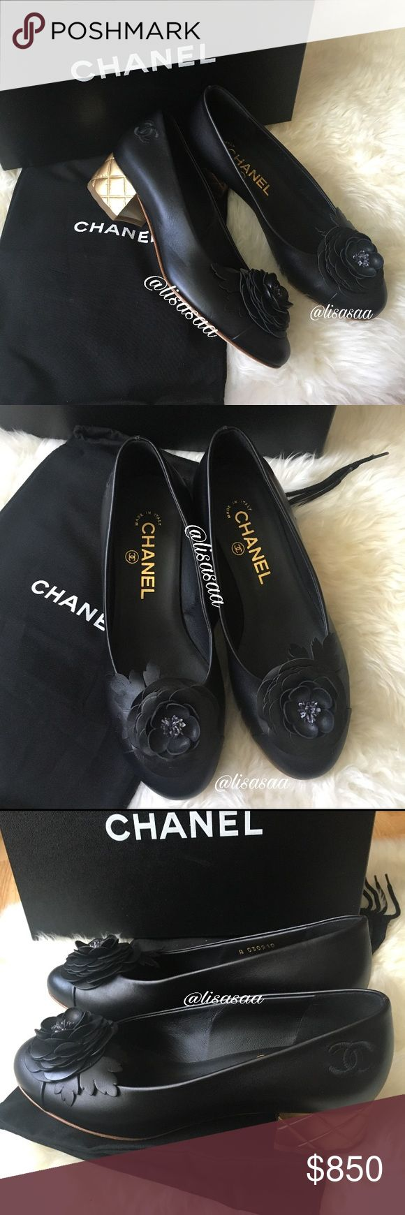 Authentic Chanel Gold Black Calfskin Quilted Heels New, authentic Chanel calfskin pumps with a gold, quilted 40mm heel, and the most adorable iconic Calfskin Chanel flower. These were never worn, however the soles are scuffed from being tried on as pictured. The sole also has the sticker where the price used to be. Purchased from Saks. Comes with box and dust bags. Words cannot describe how adorable these pumps are and how soft they feel! You cannot find these in stores anymore!! Paid $875…