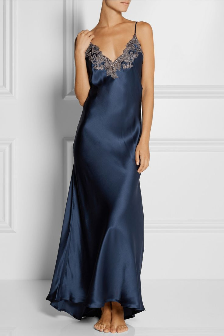 La Perla | Maison lace-trimmed silk-blend satin nightgown | NET-A-PORTER.COM