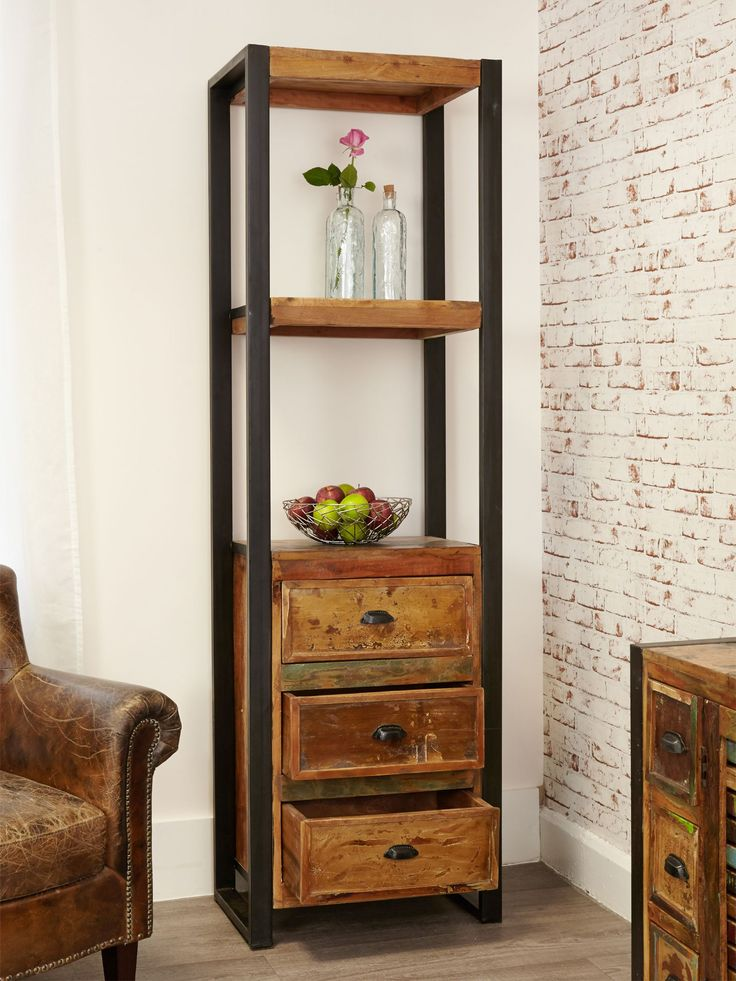 Narrow Industrial Bookcase With Drawers