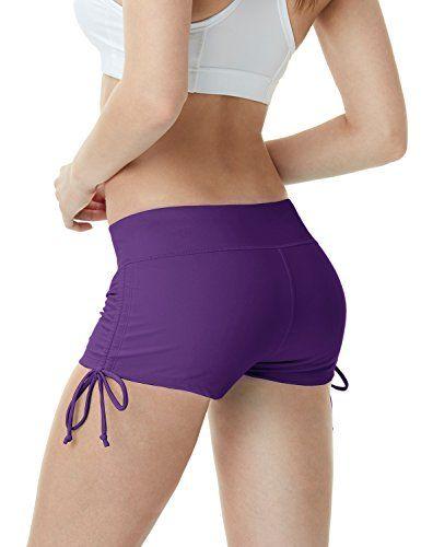 884564e507 TSLA TM-FSB04-PPL_Large Women's Shirring Tankini Shorts Swimsuit Quick Dry  Water Beach Board Bottom FSB04