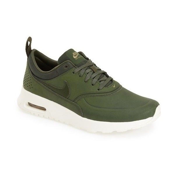 Nike 'Air Max Thea' Sneaker featuring polyvore, fashion, shoes, sneakers, dark green, cushioned shoes, leather sneakers, neon sneakers, lacing sneakers and lace up shoes
