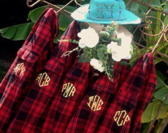 Items similar to Wedding Party 8 Flannel Shirts Monogram Bridesmaid Gift Bachelorette Party Robe Getting Ready Boyfriend Plaid Bridal Shower Girls Night Out on Etsy
