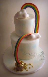 bolo arco iris 2 190x300 Bolo decorado com o arco iris