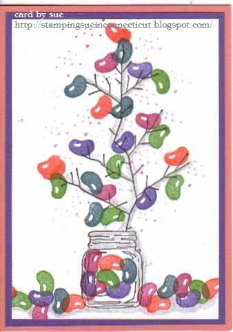 A jelly bean tree...perfect for when you need a little sugar rush without the calories. all images by Stamps by Judith. stamping sue http://stampingsueinconnecticut.blogspot.com/ - To see more ideas and order Stamps by Judith & Heather go to www.stampsbyjudith.com